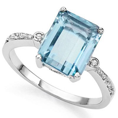 BIG SKY BLUE TOPAZ & DOUBLE WHITE DIAMOND 0.926 STERLING SILVER W/ PLATINUM RING