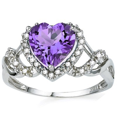 SPARKLING 2.16 CT AMETHYST & 2 PCS WHITE DIAMOND PLATINUM OVER 0.925 STERLING SILVER RING