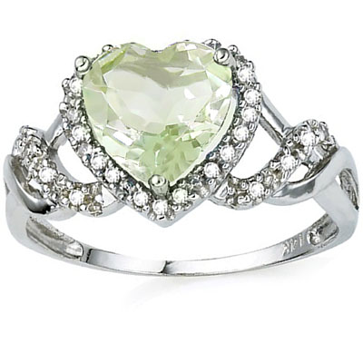 GREAT 1.53 CT GREEN AMETHYST WITH DOUBLE DIAMONDS 0.925 STERLING SILVER W/ PLATINUM RING
