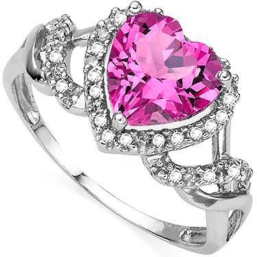 MARVELOUS 2.50 CT PINK TOPAZ WITH DIAMONDS 0.925 STERLING SILVER W/ PLATINUM RING