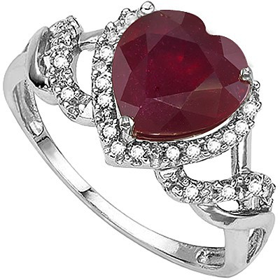 HEART BEAUTY! 1.89 CT GENUINE RUBY DOUBLE WHITE DIAMOND 0.925 STERLING SILVER W/ PLATINUM RING