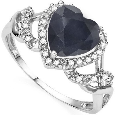 STUNNING HEART SHAPE GENUINE BLACK SAPPHIRE DOUBLE WHITE DIAMOND 0.925 STERLING SILVER W/ PLATINUM RING