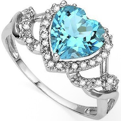 GRACEFUL HEART SKY BLUE TOPAZ DOUBLE WHITE DIAMOND 0.925 STERLING SILVER W/ PLATINUM RING