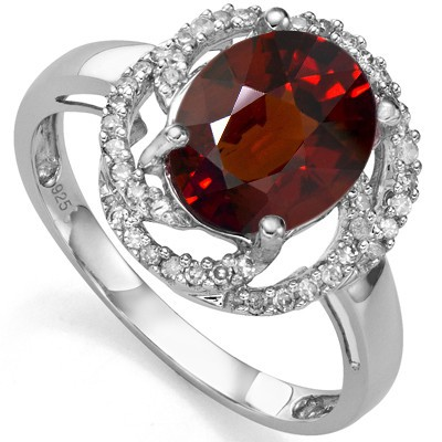 ENORMOUS 2.73 CT GARNET DOUBLE WHITE DIAMOND 0.925 STERLING SILVER W/ PLATINUM RING