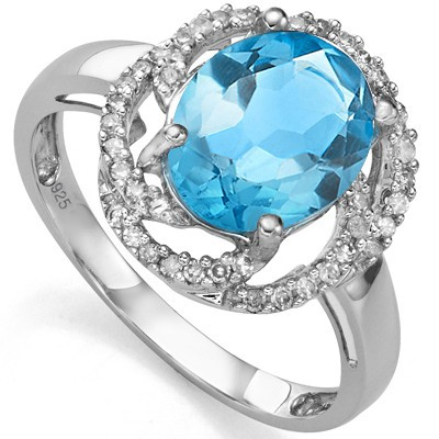 PRETTY 3.16 CT BLUE TOPAZ WITH DOUBLE DIAMONDS 0.925 STERLING SILVER W/ PLATINUM RING