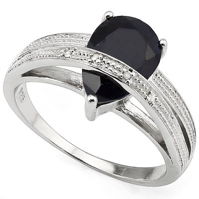 ENORMOUS MID-NIGHT BLUE GENUINE SAPPHIRE & GENUINE DIAMOND 0.925 STERLING SILVER W/ PLATINUM RING