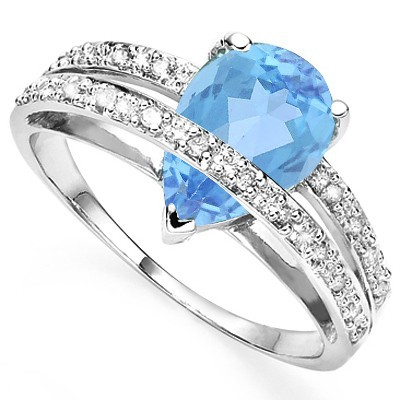 FASCINATING SKY BLUE TOPAZ & 4 PCS WHITE DIAMOND 0.925 STERLING SILVER W/ PLATINUM RING