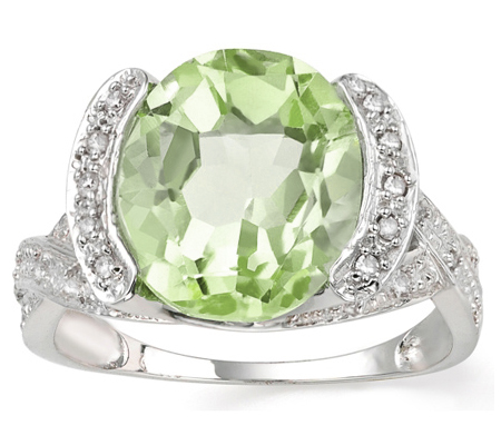 MESMERIZING 4.5 CARAT GREEN AMETHYST WITH DOUBLE GENUINE DIAMONDS PLATINUM OVER 0.925 STERLING SILVER RING