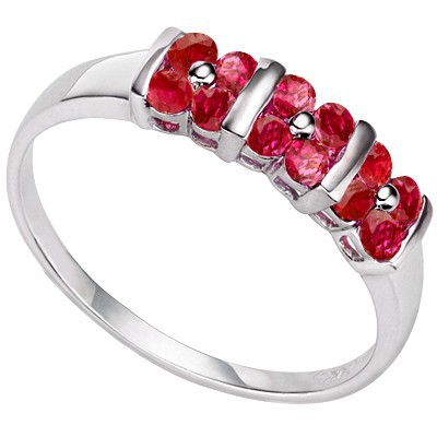SIMPLE AND ELEGANT! 12 PCS GENUINE RUBY 0.925 STERLING SILVER W/ PLATINUM RING