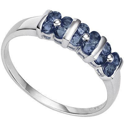 FASCINATING 12 PCS GENUINE MIDNIGHT BLUE SAPPHIRE 0.925 STERLING SILVER W/ PLATINUM RING