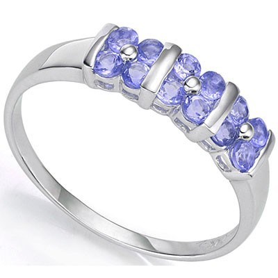 SPECTACULAR 0.36 CARAT 12 PCS GENUINE TANZANITE PLATINUM OVER 0.925 STERLING SILVER RING