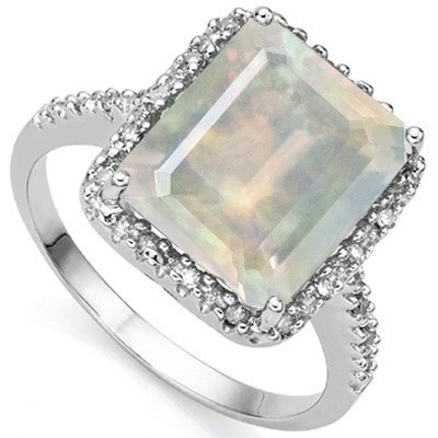 HEAVY 4.93 CT CREATED FIRE OPAL DOUBLE WHITE DIAMOND 0.925 STERLING SILVER W/ PLATINUM RING
