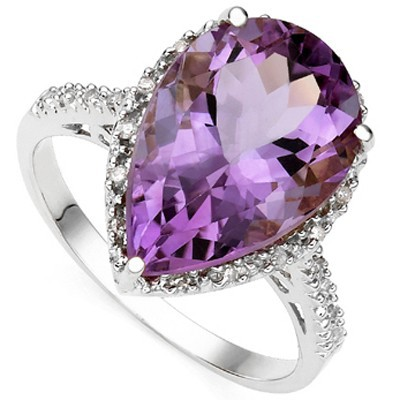 MARVELOUS 2.01 CT AMETHYST DOUBLE WHITE DIAMOND 0.925 STERLING SILVER W/ PLATINUM RING