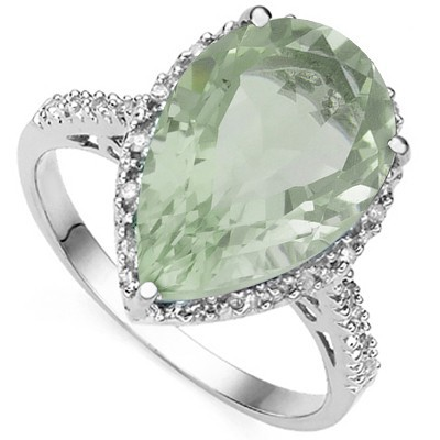 AMAZING 4.74 CT GREEN AMETHYST DOUBLE GENUINE DIAMOND 0.925 STERLING SILVER W/ PLATINUM RING