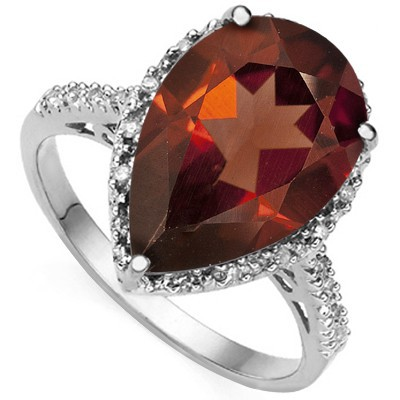 POPULAR 3.50 CT RED GARNET DOUBLE WHITE DIAMOND 0.925 STERLING SILVER W/ PLATINUM RING