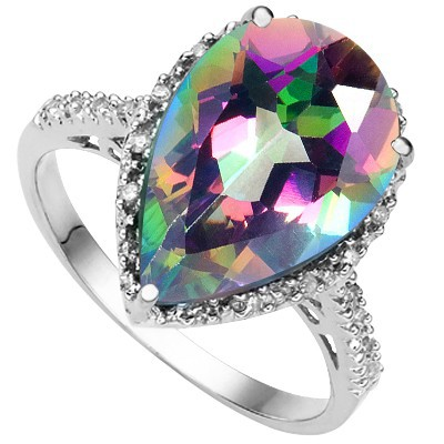 DAZZLING 4.32 CT RAINBOW MYSTIC GEMSTONE DOUBLE WHITE DIAMOND 0.925 STERLING SILVER W/ PLATINUM RING