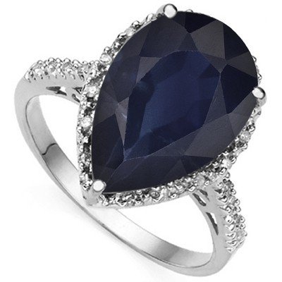 MAGNIFICENT GENUINE BLACK SAPPHIRE DOUBLE WHITE DIAMOND 0.925 STERLING SILVER W/ PLATINUM RING