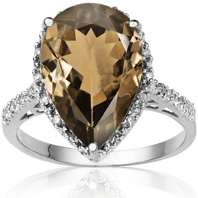 SPECIAL 4.87 CT SMOKEY TOPAZ DOUBLE WHITE DIAMOND 0.925 STERLING SILVER W/ PLATINUM RING