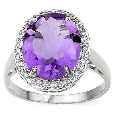 GREAT 5.11 CT AMETHYST & 2 PCS WHITE DIAMOND PLATINUM OVER 0.925 STERLING SILVER RING