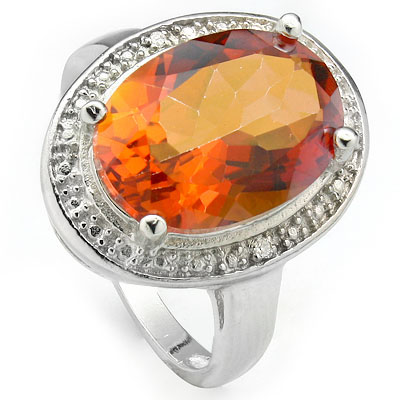 CHARMING 5.55 CARAT AZOTIC GEMSTONE WITH DOUBLE GENUINE DIAMONDS PLATINUM OVER 0.925 STERLING SILVER RING