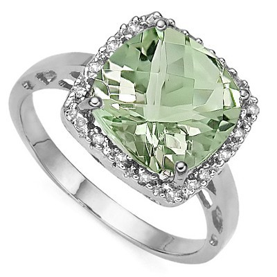 DESIRABLE 3.98 CT GREEN AMETHYST DOUBLE WHITE DIAMOND 0.925 STERLING SILVER W/ PLATINUM RING
