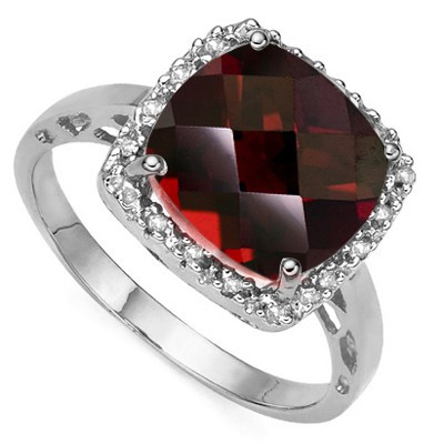 SPECTACULAR 4.42 CT GARNET DOUBLE WHITE DIAMOND 0.925 STERLING SILVER W/ PLATINUM RING