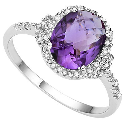 DELICATE 2.00 CT AMETHYST DOUBLE WHITE DIAMONDS 0.925 STERLING SILVER W/ PLATINUM RING