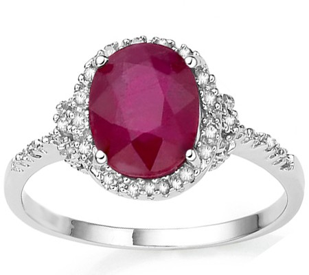 FASCINATING GENUINE RUBY & DOUBLE WHITE DIAMOND 0.925 STERLING SILVER W/ PLATINUM RING