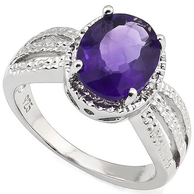 ALLURING 2.28 CARAT AMETHYST & DOUBLE GENUINE DIAMONDS PLATINUM OVER 0.925 STERLING SILVER RING