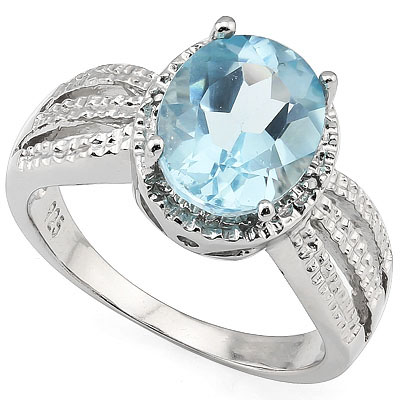 MARVELOUS 3.18 CARAT BLUE TOPAZ WITH DOUBLE GENUINE DIAMONDS PLATINUM OVER 0.925 STERLING SILVER RING