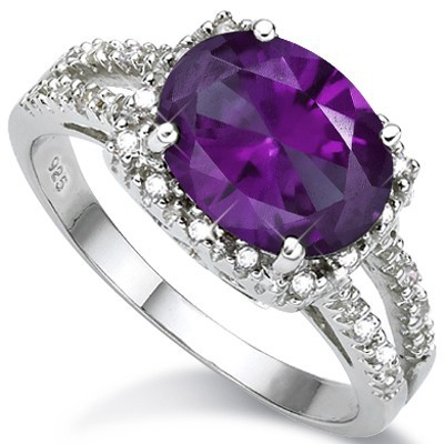 SPECTACULAR BYZANTIUM PURPLE LAB ALEXANDRITE 2PCS WHITE DIAMOND 0.925 STERLING SILVER W/ PLATINUM RING
