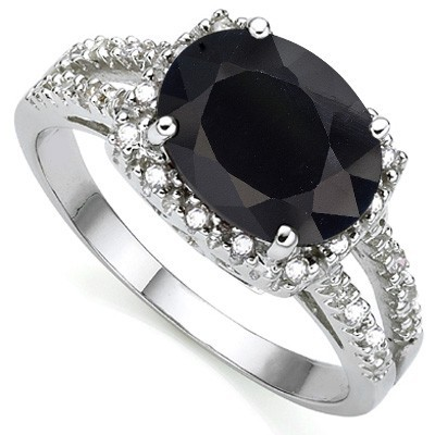 HANDSOME GENUINE BLACK SAPPHIRE DOUBLE WHITE DIAMOND 0.925 STERLING SILVER W/ PLATINUM RING