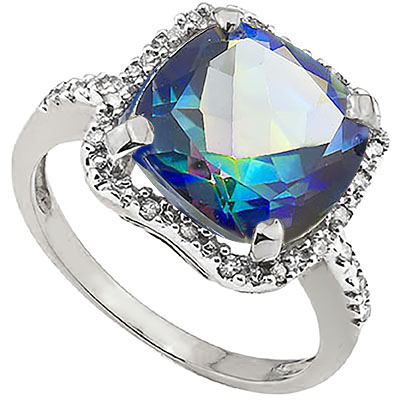 PRETTY 3.84 CT BLUE MYSTIC GEMSTONE WITH DOUBLE GENUINE DIAMONDS PLATINUM OVER 0.925 STERLING SILVER RING