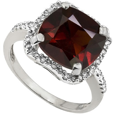 ALLURING 4.5 CT GARNET & DOUBLE WHITE DIAMOND 0.925 STERLING SILVER W/ PLATINUM RING