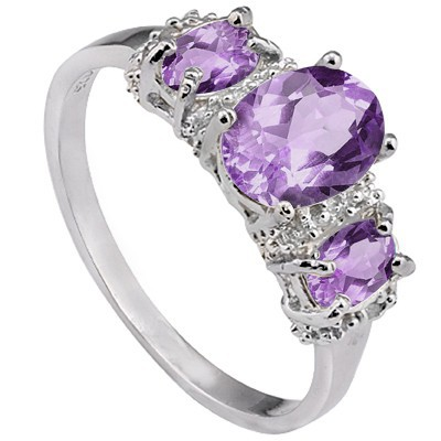 ELEGANT! TRIPLE PERFECT AMETHYST & GENUINE WHITE DIAMONDS 0.925 STERLING SILVER W/ PLATINUM RING