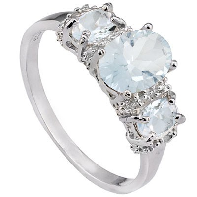 BRIGHT 1.49 CT AQUAMARINE DOUBLE AQUAMARINE 0.925 STERLING SILVER W/ PLATINUM RING