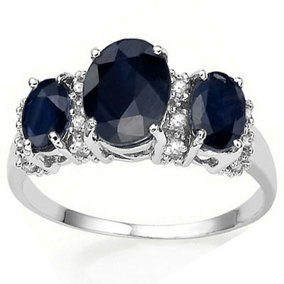 PRECIOUS 2.20 CT ENHANCED BLUE SAPPHIRE WITH DOUBLE DIAMONDS 0.925 STERLING SILVER W/ PLATINUM RING