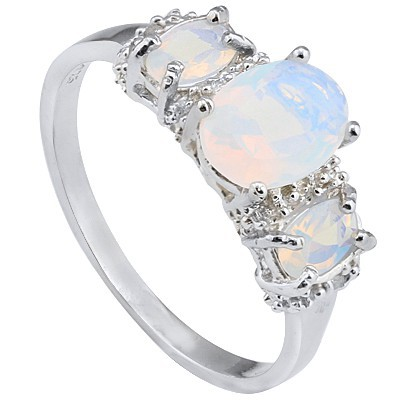 PRETTY THREE CREATED FIRE OPAL WITH DOUBLE DIAMONDS 0.925 STERLING SILVER W/ PLATINUM RING