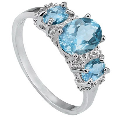 PRETTY TRIPLE SKY BLUE TOPAZ DOUBLE WHITE DIAMOND 0.925 STERLING SILVER W/ PLATINUM RING