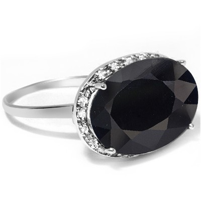 ENORMOUS BLACK MIDNIGHT BLUE GENUINE SAPPHIRE & GENUINE WHITE DIAMOND 0.925 STERLING SILVER W/ PLATINUM RING
