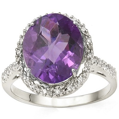 MARVELOUS 4 CT AMETHYST & DOUBLE WHITE DIAMOND 0.925 STERLING SILVER W/ PLATINUM RING