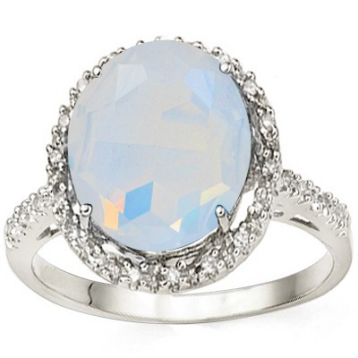 ELITE 3.83 CT CREATED FIRE OPAL & DOUBLE WHITE DIAMOND 0.925 STERLING SILVER W/ PLATINUM RING