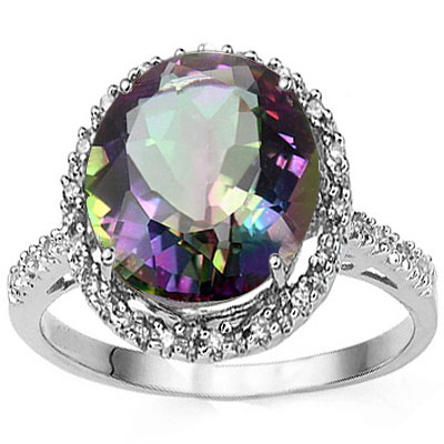 DAZZLING 4.45 CT MYSTIC TOPAZ WITH DOULE GENUINE DIAMONDS 0.925 STERLING SILVER W/ PLATINUM RING