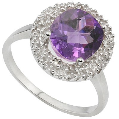 AMAZING 2.29 CT AMETHYST WITH DOUBLE GENUINE DIAMONDS 0.925 STERLING SILVER W/ PLATINUM RING