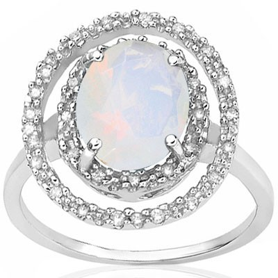 ADORABLE 2 CT CREATED FIRE OPAL DOUBLE WHITE DIAMOND 0.925 STERLING SILVER W/ PLATINUM RING