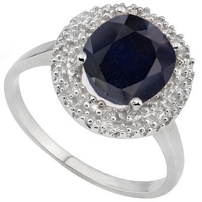 LOVELY 2.5 CT GENUINE SAPPHIRE & DOUBLE WHITE DIAMOND 0.925 STERLING SILVER W/ PLATINUM RING