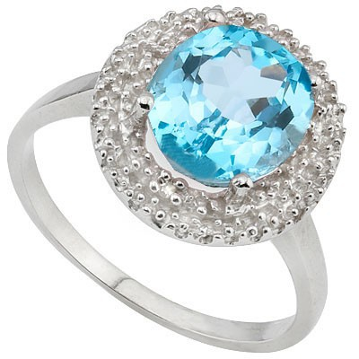 SPARKLING 2 CT BLUE TOPAZ & DOUBLE WHITE DIAMOND 0.925 STERLING SILVER W/ PLATINUM RING
