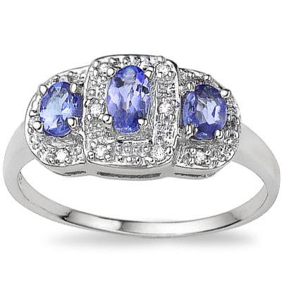 TRIPLE ROYAL GENUINE TANZANITE & GENUINE DIAMOND 0.925 STERLING SILVER RING