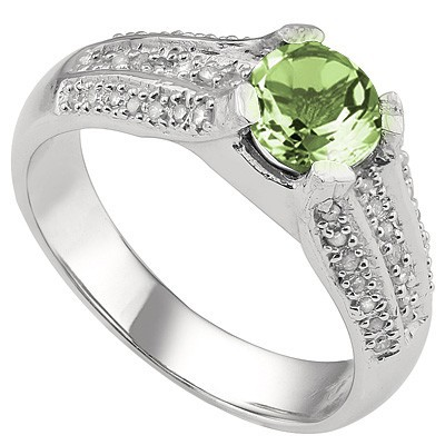 SPARKLING 1.76 CT GREEN AMETHYST & 2 PCS WHITE DIAMOND 0.925 STERLING SILVER W/ PLATINUM RING