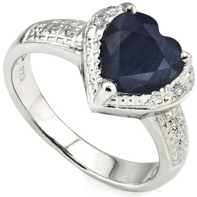 EXCLUSIVE HEART SHAPED GENUINE SAPPHIRE WITH DOUBLE DIAMOND 0.925 STERLING SILVER W/ PLATINUM RING